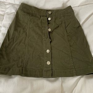 H&M Olive Green Button Up Mini Skirt